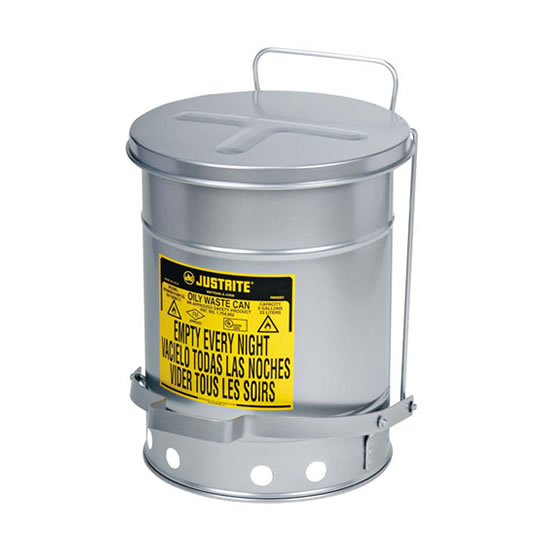 Tanques para desechos aceitosos Justrite 9104 SoundGuard™ - Apertura a pedal - 23 litros - Color plata