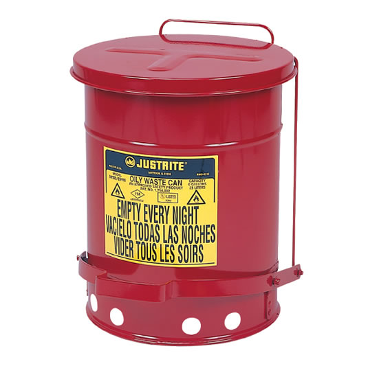 Tanques para desechos aceitosos Justrite 9108 SoundGuard™ - Apertura a pedal - 23 litros - Color rojo