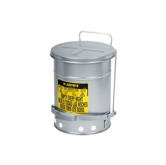 Tanques para desechos aceitosos Justrite 9304 SoundGuard™ - Apertura a pedal - 38 litros - Color plata