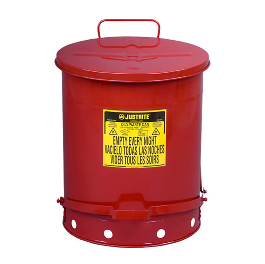 Tanques para desechos aceitosos Justrite 9500 - Apertura a pedal - 53 litros - Color rojo