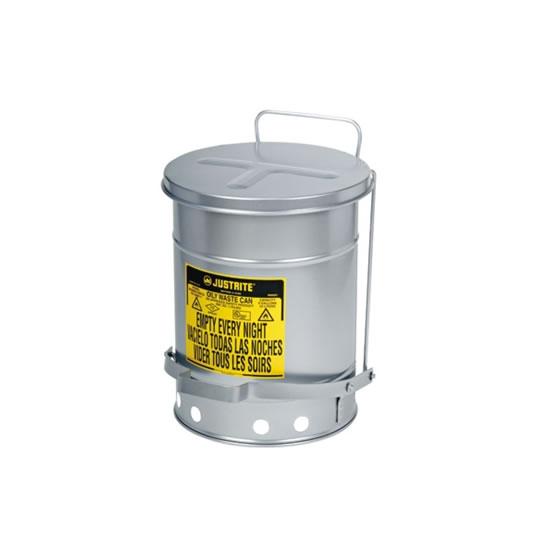 Tanques Justrite 9504 SoundGuard™ para desechos aceitosos - Apertura a pedal - 53 litros - Color plata