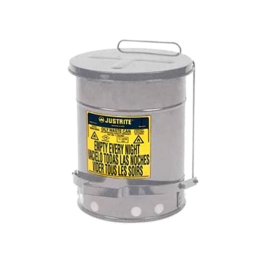 Tanques para desechos aceitosos Justrite 9704 - Apertura a pedal - 79 litros - Color plata