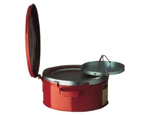 Bidones Justrite para desechos aceitosos - Bidones de limpieza Justrite 10370 con canasta para piezas pequeñas - 4 litros
