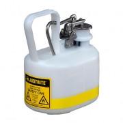 Bidones para ácidos y corrosivos Justrite 12163 ovalados plásticos Tipo I con accesorios de acero inoxidable - Color blanco - 2 lts.
