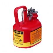 Bidones para ácidos y corrosivos Justrite 14045 ovalados plásticos Tipo I con accesorios de acero galvanizado - Color rojo - 2 lts.