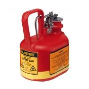 Bidones para ácidos y corrosivos Justrite 14065 ovalados plásticos Tipo I con accesorios de acero inoxidable - Color rojo - 2 lts.