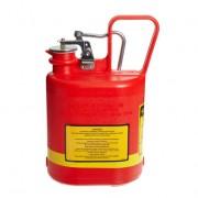 Bidones plásticos para ácidos y corrosivos Justrite 14140 ovalados Tipo I con accesorios de acero galvanizado - Color rojo - 4 lts.