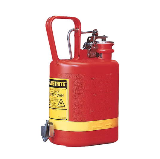 Bidones para ácidos y corrosivos Justrite 14169 ovalados plásticos con grifo - 4 lts.