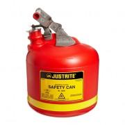 Bidones plásticos para ácidos y corrosivos Justrite 14261 ovalados Tipo I con accesorios de acero inoxidable - Color rojo - 9 lts.