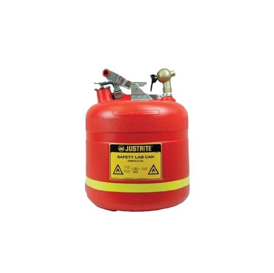 Bidones plásticos para ácidos y corrosivos Justrite 14540 ovalados con grifo superior - 19 lts.