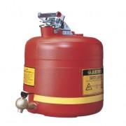 Bidones para ácidos y corrosivos Justrite 14545 ovalados plásticos con grifo - 19 lts.