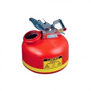 Bidones de seguridad para desechos líquidos - Bidones plásticos para ácidos Justrite 14762 de boca ancha con accesorios de acero inoxidable - 8 lts.