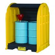 Cobertizos antiderrames para almacenar 2 tambores Justrite 28675 EcoPolyBlend™ DrumSheds™