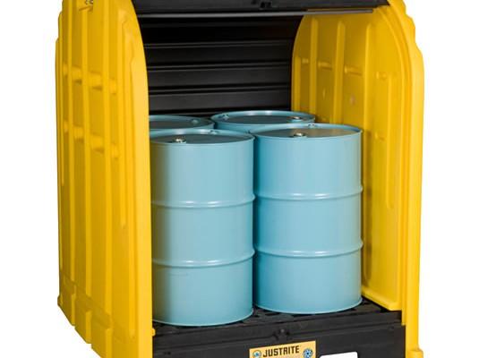 Justrite EcoPolyBlend™ DrumSheds™ - Cobertizos antiderrames para almacenar 4 tambores Justrite 28676 EcoPolyBlend™ DrumSheds™