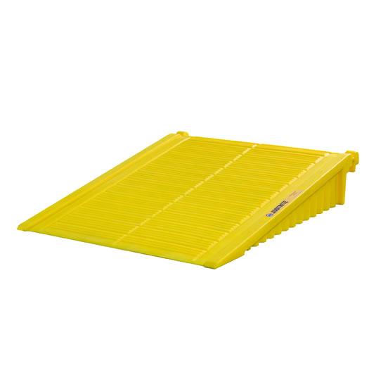 Rampas para cobertizos antiderrames Justrite 28678 EcoPolyBlend™ DrumSheds™ color amarillo