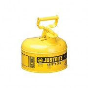 Bidones para inflamables Justrite 7110200 (ex 10211/10311) metalicos Tipo I - Cap. 4 lts - Color amarillo para Gas oil