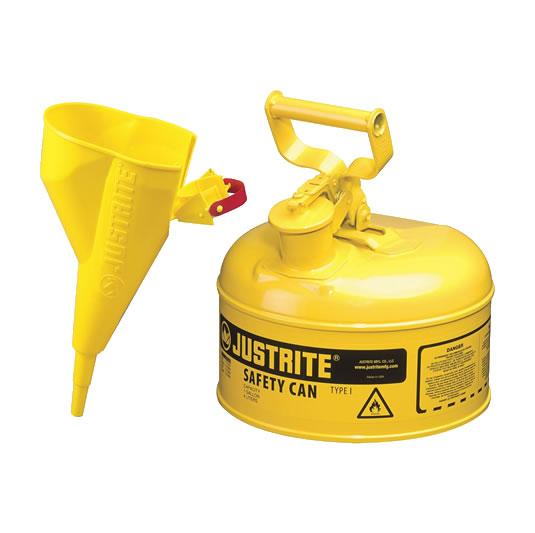Bidones para inflamables Justrite 7110210 metalicos Tipo I - Con embudo - Cap. 4 lts - Color amarillo para Gas oil