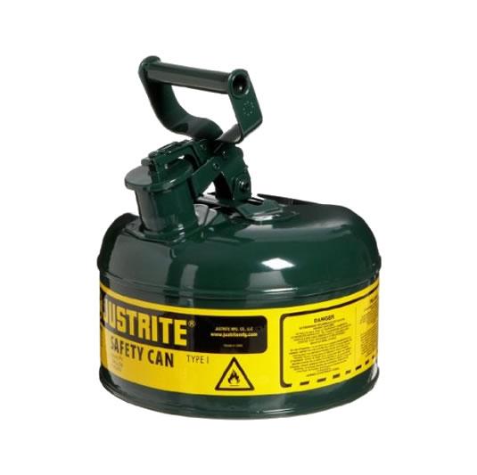 Bidones para inflamables Justrite 7110400 (ex 10312) de seguridad en chapa Tipo I - Cap. 4 lts - Color verde para Aceite