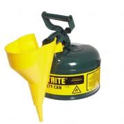 Bidones para inflamables Justrite 7110410 metálicos Tipo I - Con embudo - Cap. 4 lts - Color verde para Aceite