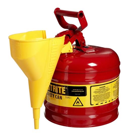 Bidones para inflamables Justrite 7120110 (ex 10502) metálicos Tipo I - Con embudo - Cap. 7,5 lts.