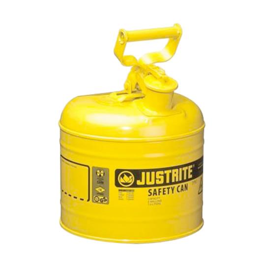 Bidones para inflamables Justrite 7120200 (ex 10511) metálicos Tipo I - Cap. 7,5 lts - Color amarillo para Gas oil