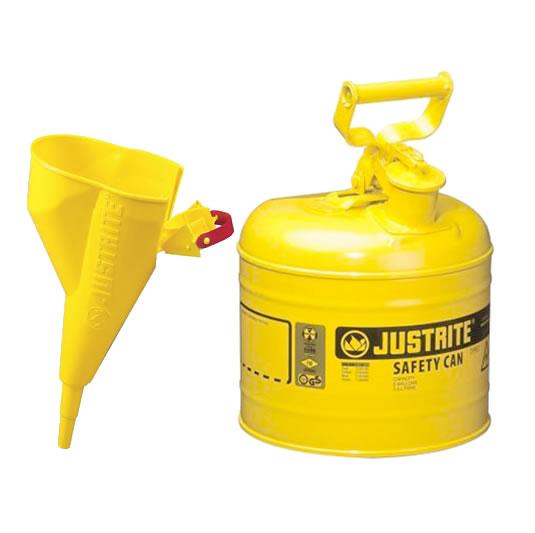 Bidones para inflamables Justrite 7120210 metálicos Tipo I - Con embudo - Cap. 7,5 lts - Color amarillo para Gas oil