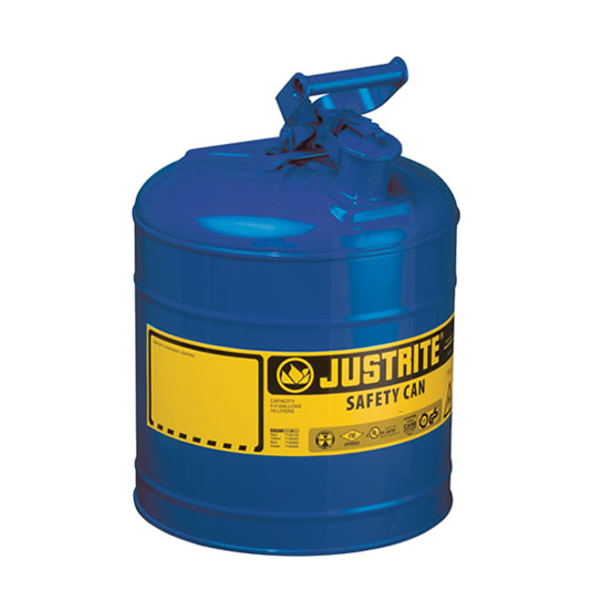 Bidones para inflamables Justrite 7120300 (ex 10510) metálicos Tipo I - Cap. 7,5 lts - Color azul para Querosén