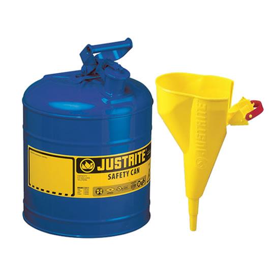 Bidones para inflamables Justrite 7120310 metálicos Tipo I - Con embudo - Cap. 7,5 lts - Color azul para Querosén