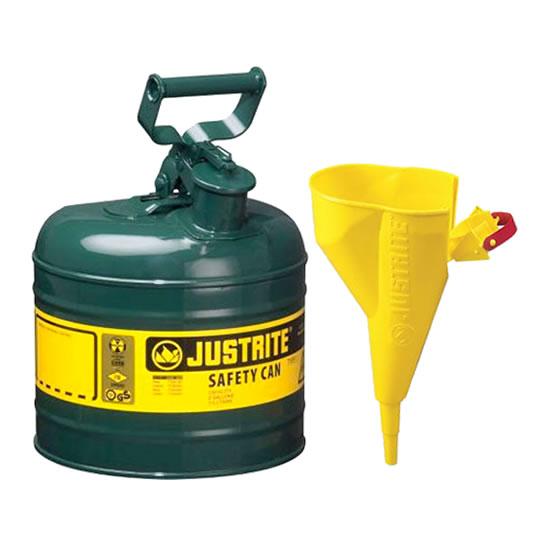 Bidones para inflamables Justrite 7120410 metálicos Tipo I - Con embudo - Cap. 7,5 lts - Color verde para Aceite