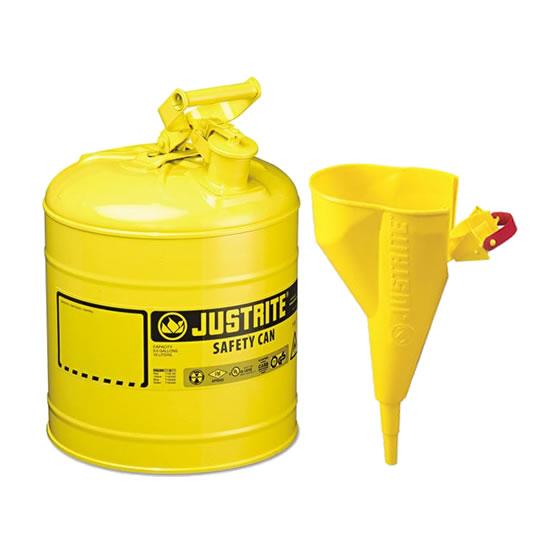 Bidones para inflamables Justrite metálicos Tipo I - Con embudo - Color amarillo para Gas oil