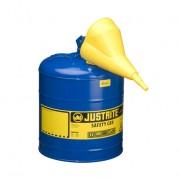 Bidones para inflamables Justrite metálicos Tipo I - Con embudo - Color azul para Querosén