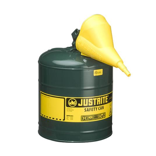 Bidones para inflamables Justrite metálicos Tipo I - Con embudo - Color verde para Aceite