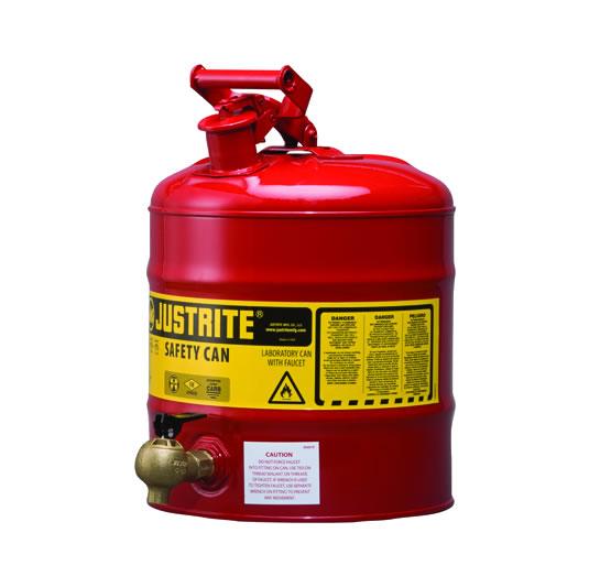 Bidones para laboratorio metálicos Justrite 7150140 (ex 10807) con grifo 08540 - 19 lts.