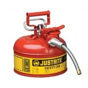Bidones para inflamables Justrite 7210120 (ex-10327/10345) metálicos de dos bocas y manguera Tipo II Accuflow™ - 4 lts - Color rojo