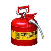 Bidones para inflamables Justrite 7220120 (ex 10527) metálicos de dos bocas y manguera Tipo II Accuflow™ - 7,5 lts - Color rojo