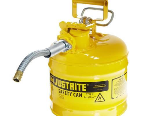 Bidones de seguridad para desechos líquidos - Bidones para inflamables Justrite 7220220 (ex 10468Y/10568Y/10526) metálicos de dos bocas Tipo II Accuflow™ - 7,5 lts - Color amarillo para Gas oil