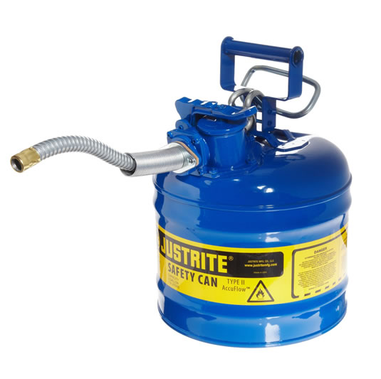 Bidones para inflamables Justrite 7220320 (ex 10468B/10568B/10527B) metálicos de dos bocas Tipo II AccuFlow™ - 7,5 lts - Color Azul para Querosén