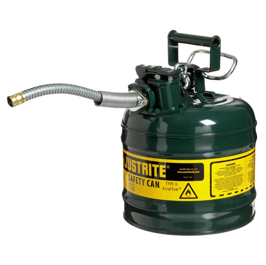 Bidones para inflamables Justrite 7220420 (ex 10468E/10568E/10527E) metálicos de dos bocas Tipo II AccuFlow™ - 7,5 lts - Color verde para Aceite
