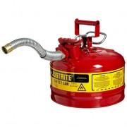 Bidones para inflamables Justrite 7225130 (Ex 10721) metálicos de dos bocas y manguera 25mm Tipo II AccuFlow™ - 9,5 litros - Color rojo