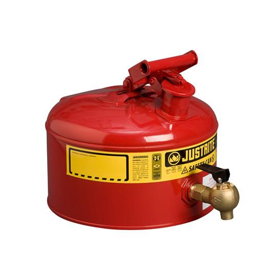 Justrite Bidones y recipientes de seguridad para materiales inflamables - Bidones para laboratorio metálicos Justrite 7225140 (ex 10707) con grifo 08540 - 11 lts.