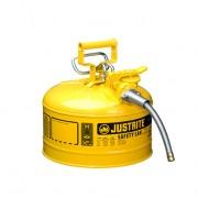 Bidones para inflamables Justrite 7225220 (Ex 10668Y/10768Y/10729) metálicos de dos bocas y manguera 16mm Tipo II AccuFlow™ – 9,5 litros – Color amarillo para Gas oil