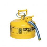 Bidones para inflamables Justrite 7225230 (Ex 10667Y/10767Y/10732) metálicos de dos bocas y manguera 25mm Tipo II AccuFlow™ - 9,5 litros - Color amarillo para Gas oil