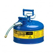Bidones para inflamables Justrite 7225320 (Ex 10668B/10768B/10728B) metálicos de dos bocas y manguera 16mm Tipo II AccuFlow™ - 9,5 litros - Color azul para Querosén