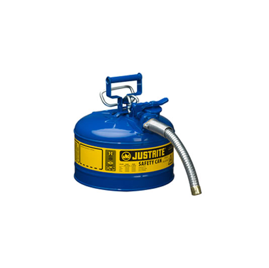 Bidones para inflamables Justrite 7225330 (Ex 10667B/10767B/10720) metálicos de dos bocas y manguera 25mm Tipo II AccuFlow™ - 9,5 litros - Color azul para Querosén