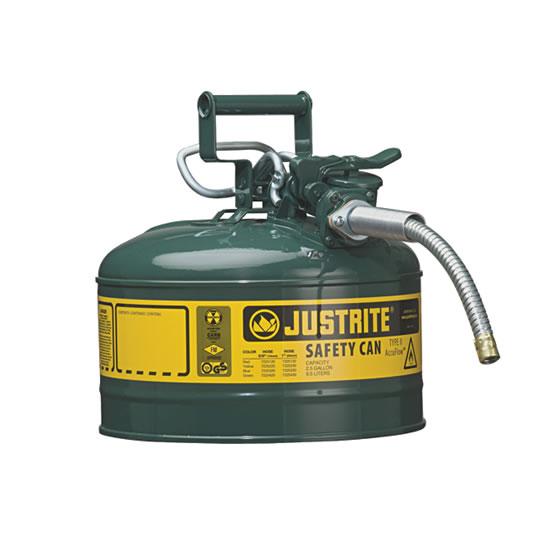 Bidones para inflamables Justrite 7225420 (Ex 10668E/10768E/10728E) metálicos de dos bocas y manguera 16mm Tipo II AccuFlow™ - 9,5 litros - Color verde para Aceite