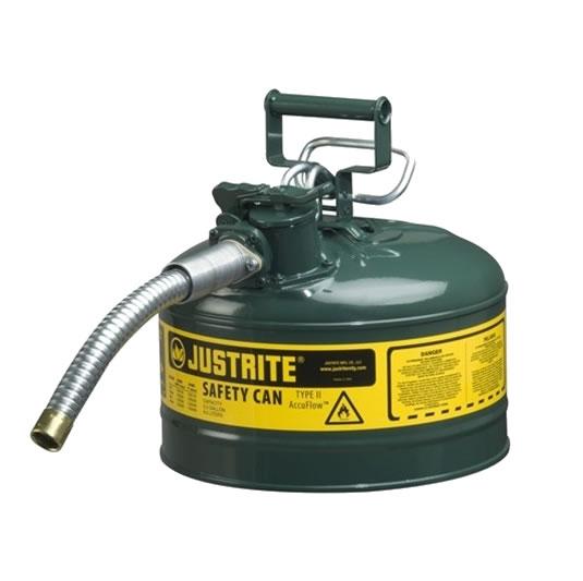 Bidones para inflamables Justrite 7225430 (Ex 10667E/10767E/10726) metálicos de dos bocas y manguera 25mm Tipo II AccuFlow™ - 9,5 litros - Color verde para Aceite