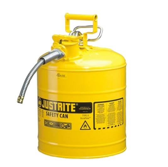 Bidones para inflamables Justrite 7250220 (Ex 10868Y/10829) de dos bocas y manguera Tipo II AccuFlow™ - 19 lts - Color amarillo para Gas Oil