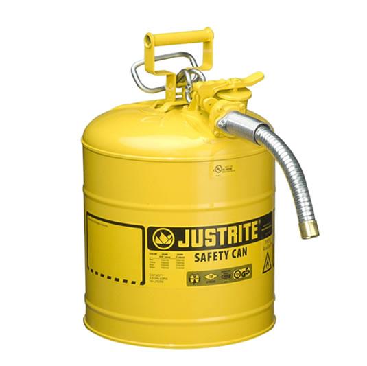 Bidones para inflamables Justrite 7250230 (Ex 10867Y/10832) de dos bocas y manguera Tipo II AccuFlow™ - 19 lts - Color amarillo para Gas Oil