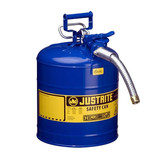 Bidones para inflamables Justrite 7250330 (Ex 10867B/10820) de dos bocas y manguera Tipo II AccuFlow™ - 19 lts - Color azul para Querosén
