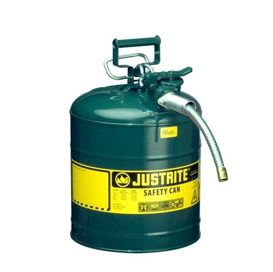 Bidones para inflamables 7250420 (Ex 10868E/10828E) de dos bocas y manguera Tipo II AccuFlow™ - 19 lts - Color verde para Aceite